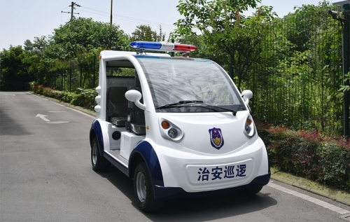 Four semi-enclosed electric patrol cars